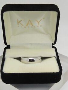 KAY'S SHINY Solid 10k White Gold 6mm Plain Wedding Band Ring 6.8g Size 10