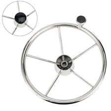 "13.5"" 5 spoke Destroyer Style Stainless Boat Steering Wheel with Knob Stainless"