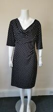Womens Size 16 Connected Black Spotted stretch Fitted Dress