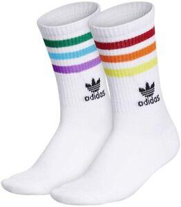 adidas Originals Pride Rainbow White Roller Crew Socks Gay Pride OSFA Unisex NWT