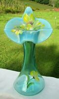 "Fenton Glass Hand Painted ""Daffodil"" Jack in the Pulpit-Tulip Vase 11""H #66/100"