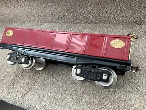 MTH Tinplate Traditions Standard Gauge # 212 Gondola Car  -  Dark Red w/Brass