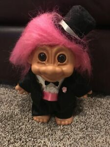 "RARE 1990's * RUSS * Brand Troll, 9"" Tall Groom: #18347 Pink Hair, Tux, Top Hat"