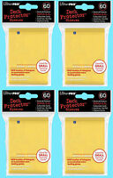 240 Ultra Pro DECK PROTECTOR Card Sleeves YELLOW YuGiOh 4 Packs Small Size NEW