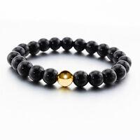 Men's Handmade Gold Bracelet Lava Rock Agate Silver Spacer Women Bracelets #1#L
