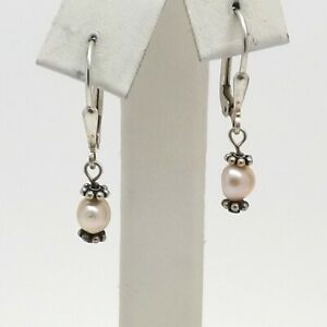 Vintage Sterling Silver Freshwater Pearl Dangle Drop Leverback Earrings