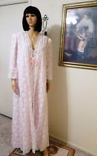 LUCIE ANN Gold Thread vintage Nylon & Lace LIGHT PINK Peignoir Set size L large