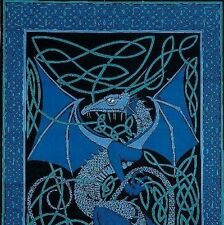 Handmade 100% Cotton Celtic Dragon Tapestry Tablecloth Throw Spread 70x106 Blues