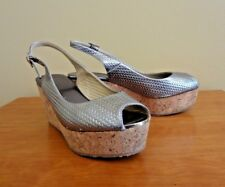 "Jimmy Choo ""Porter"" Silver Metallic Platform Wedge Sandals in size 37.5 (7.5 US)"
