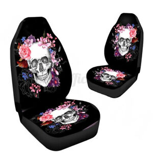 2X Universal Car Van Truck Front Seat Cover 2PCS Skull Cushion Protector Mat Pad