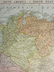 1919 LARGE MAP ~ SOUTH AMERICA NORTH WEST ~ VENEZUELA COLOMBIA ECUADOR PERU