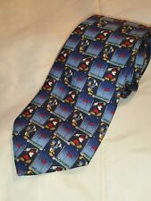 Disney Tie Rack Golfing Mickey Mouse Donald Duck Pure Silk Necktie