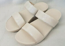 New Fitflop Lulu Shimmy Suede Slide Pale Gold Slip On Suede Leather Sandals Sz 6