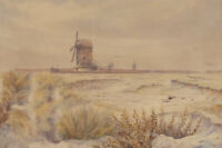 William Edward Mayes (1861-1952) - Signed Watercolour, Windmill in Winter