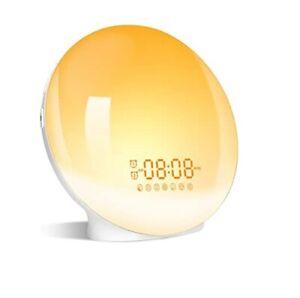 Wake Up Light, Luce radio Sveglia da Comodino con porta usb, alba colori