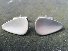 """VINTAGE 1960""""S BRUSHED STAINLESS STEEL ABSTRACT SCULPTURE CUFFLINKS 680"""