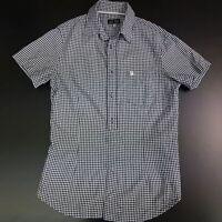 ARMANI Mens Shirt MEDIUM Short Sleeve Blue SLIM FIT Check Cotton