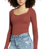 PST by Project Social Women's T Kimora Sweetheart Knit Copper Brown Top Size L