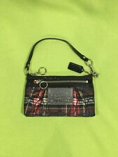 NIB Auth Coach Poppy Large Holiday Plaid Convertible Bag- Red, Green, Sparkle