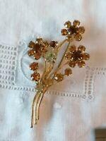 VINTAGE 40s Amber Diamante Paste Flower Spray Posy Gold Retro Pin Brooch