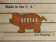 BBQ Pig Metal Sign, Home Decor, Patio Artwork, Grill, Father's Day Gift, S1010