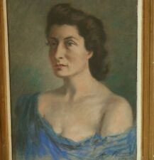 More details for 1940s wwii vintage pastel portrait painting of a woman french / german, signed
