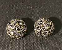 Retired John Hardy Sterling Silver & 18k Gold Jaisalmer Round Twirl Earrings