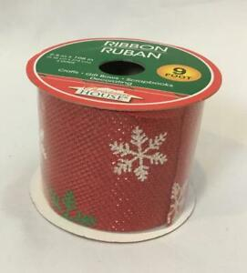 """NEW 2.5""""W X 3 Yds Christmas House Winter Snowflakes Ribbon Red Green White"""