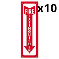 Glow-In-The-Dark Safety Sign, Fire Extinguisher, 4 x 13, Red, Pack of 10
