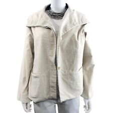 Annette Görtz, Women's XL Lagenlook Shawl Collar Soft-Cotton Button Cream Jacket