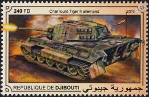 WWII German Army Panzer TIGER II (Königstiger) Heavy Tank Stamp (2018 Djibouti)