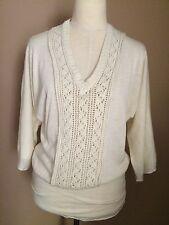 Reneec By So Cool Ivory Acrylic Wool Dolman Sleeve Sweater Sz.s