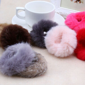 Fashion Fluffy Faux Fur Furry Scrunchie Elastic Hair Ring Rope Band Tie Girls