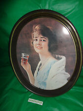 Coca-Cola Oval Tin Bar Kitchen Tray with Vintage Lady with Soda 15x12 Vintage