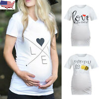 Women Maternity Short Sleeve Letter Top T Shirt Pregnancy Blouse Casual Clothes
