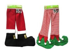 ELF TABLE LEG COVERS-STRIPE LEGS & BOOTS SET OF FOUR- CHRISTMAS DECORATION-