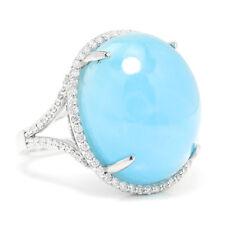 Cabochon Aquamarine Halo Ring with Diamonds 14K White Gold 31.13ctw
