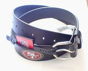 VINTAGE SAN FRANCISCO 49ERS LEATHER BELT WITH SNAPS/REMOVABLE BUCKLE SIZE 40