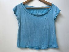 GILLY HICKS Crop Top Light Blue Short Sleeve Tee Size XS Extra Small