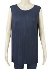 New Ex M&S Navy Blue Sleeveless Pleated Jersey Casual Summer Top Size 10 - 22