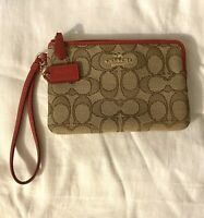 Coach Signature C Wallet Wristlet Brown W/ Red