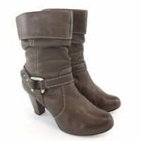 Fossil US7.5 UK5.5 Brown Leather Ankle Zip Up Buckle Mid Heels Booties Boots