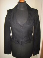 FRENCH CONNECTION FCUK crop jacket black fitted woman's 10 goth burlesque
