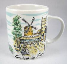 Souvenir de Paris Coffee Mug Cup Moulin Rouge Eiffel Tower Porcelain Made Egypt