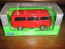 Por Welly de Metal - 1972 Volkswagen T2 Bus - en Rojo - 1:24 Escala