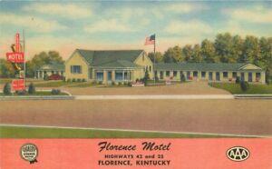 Automobile Florence Motel roadside Kentucky Flag 1954 Postcard linen 20-13772