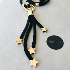 UK Ladies Designer Long Black Necklace Gold Star Multi Pendant Jewellery Gift