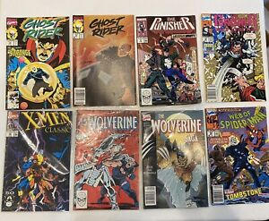 Lot of 8 comic book set punisher wolverine Spiderman ghost rider used collection