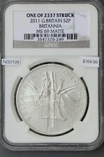Ng0108 Great Britain 2011 2 pound Ngc Ms69 Matte Britannia only 2337 minted