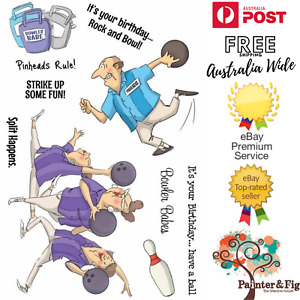 Birthday Stamps - Bowling Pins, Splits, Team, Strike, Ten Pin Bowling, Spare Me
